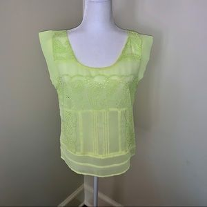 American Eagle Neon Yellow Sheer Eyelet Top